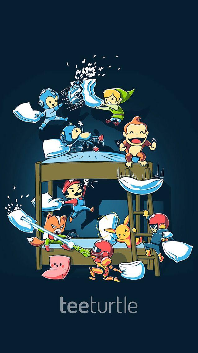 47a2a380 TeeTurtle Nintendo pillow fight iPhone wallpaper | Iphone | Super ...