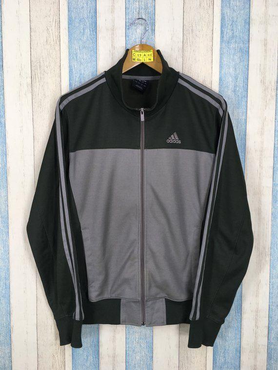 704d3ea33494 ADIDAS Track Top Windbreaker Jacket Large Vintage 90s Adidas Equipment  Three Stripes Sportswear Gray