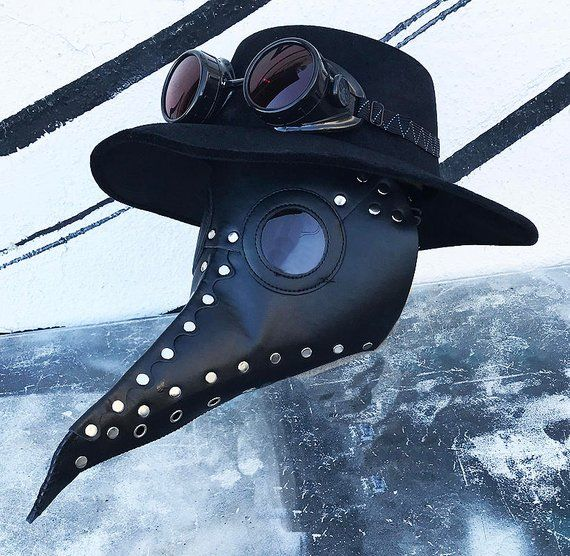 3 pc Black Faux Leather Riveted 'PLAGUE DOCTOR' Mask ...