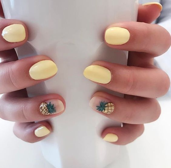 40 Stylish Short Coffin Nail Art Designs In 2020 With Images Yellow Nails Design Yellow Nail Art Yellow Nails