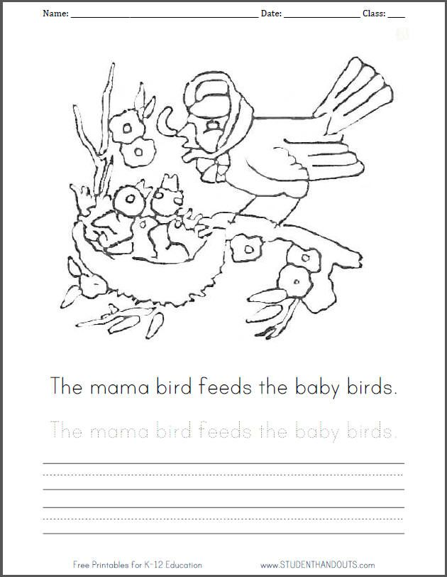 Free printable mama and baby birds coloring sheet