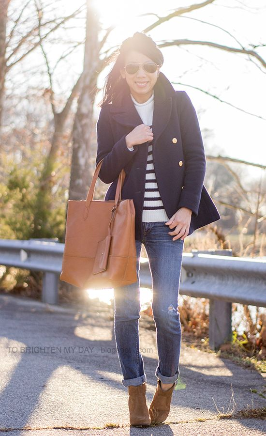 82397140a9d navy peacoat, striped sweater, cognac brown tote, brown suede ankle boots