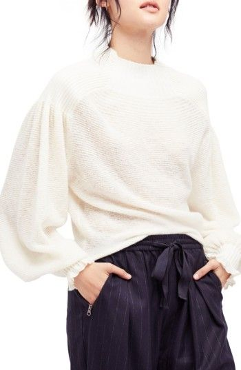 $108 - Women's Free People Elderflower Sweater - Contrast ribbing adds textural intrigue to the yoke and shoulders of a billowy, vintage-chic pullover sweater. Brand: FREE PEOPLE. Style Name:Free People Elderflower Sweater. Style Number: 5458466. Available in stores.
