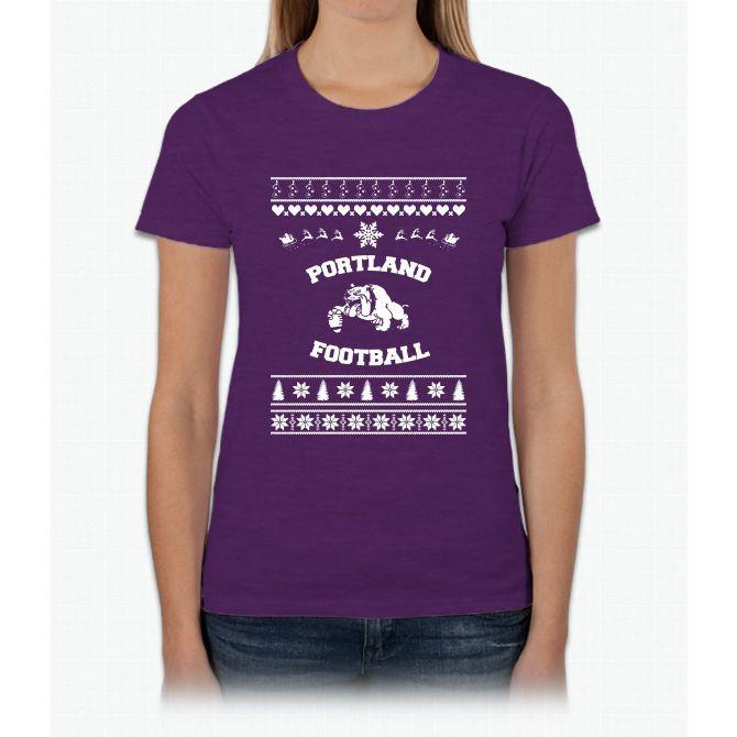 Merry Christmas Football Dog Womens T-Shirt