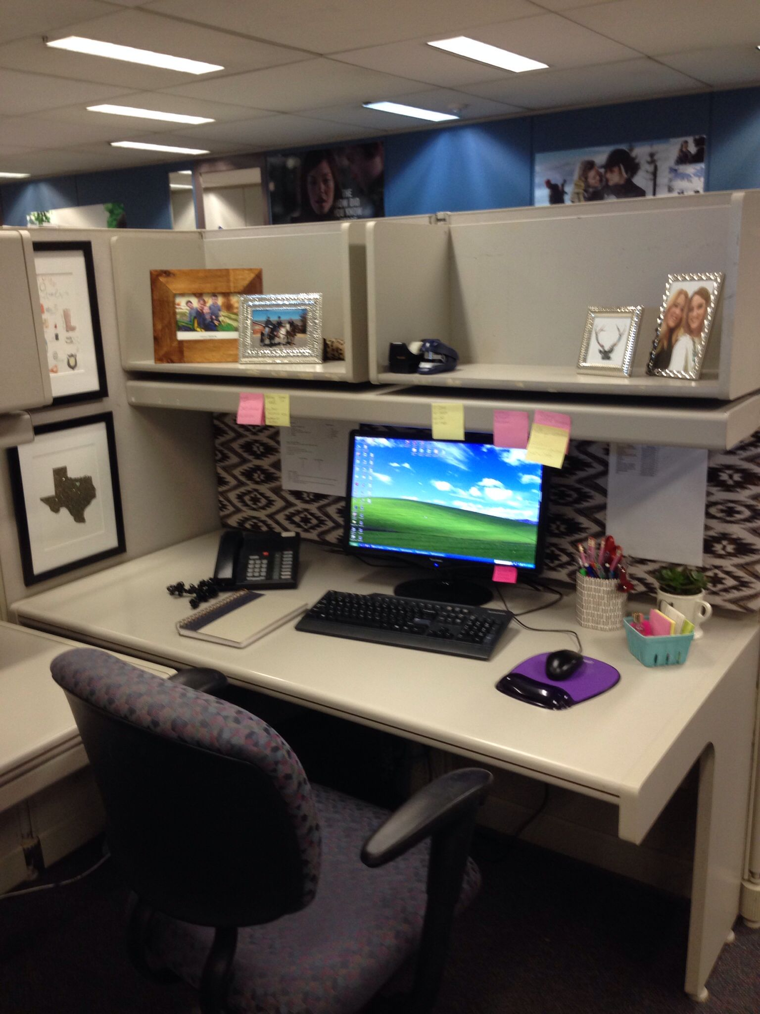 Cubicle Decor. a pop of pattern. | The Working Woman | Pinterest ...