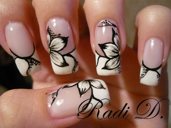 Cutewould look nice with yellow flowers too maybe with a black gel nail designs simple black and white flower design prinsesfo Choice Image