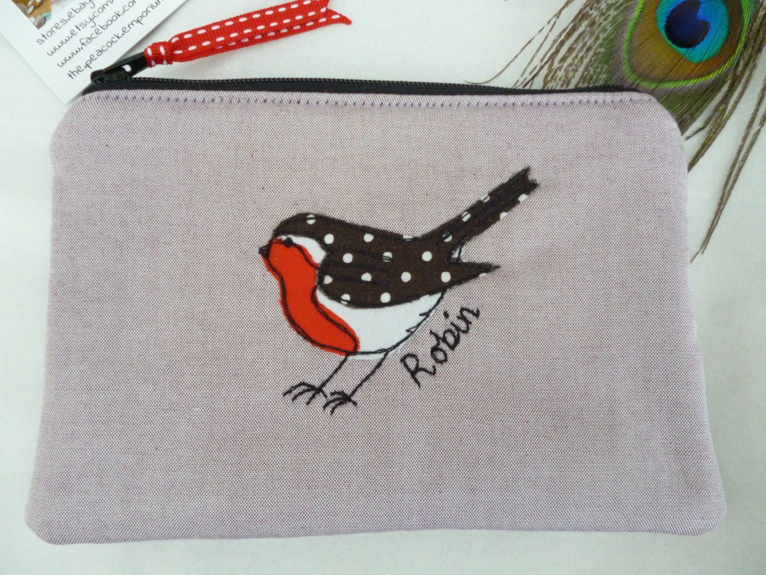 Sale handmade robin applique embroidered motif purse or