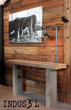 Wood and Pipe Console Table with Inserts with inlay | Playa Del Carmen Rustic Industrial Lamps & Furniture
