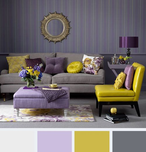 Color In Your Home Purple Living Room Yellow Living Room