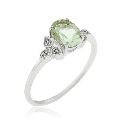 ce4053e9f21b8 Kareco 9ct White Gold Green Amethyst And Diamond Ring: Amazon.co.uk ...
