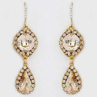 Haute Bride Earrings. Boho chic crystal drop bridal