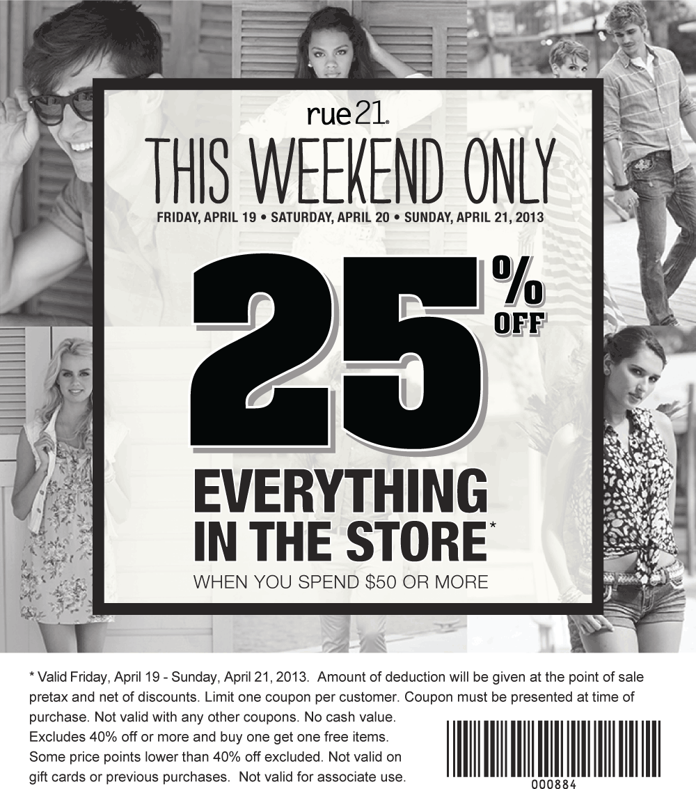 photo about Rue 21 Coupons in Store Printable identify Pinned April 20th: 25% off $50+ at rue21 coupon through The