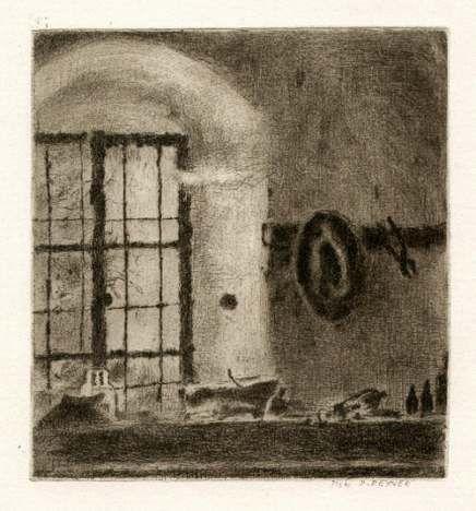 Bohuslav Reynek Zátiší s kloboukem / Still Life with Hat suchá jehla / dry point 16,5 x 15,5 cm, otisk z původní desky, 60. léta