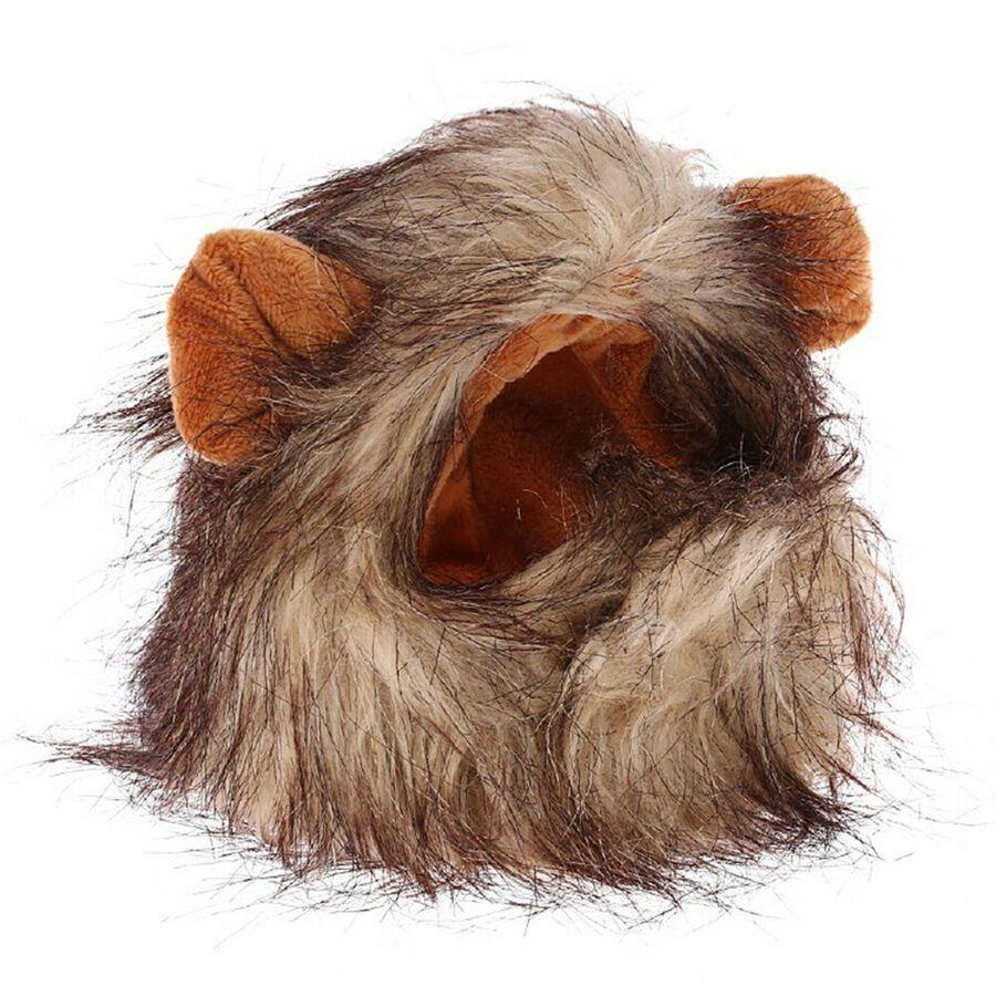 Details about Funny Cute Pet Costume Lion Mane Wig Cap Hat