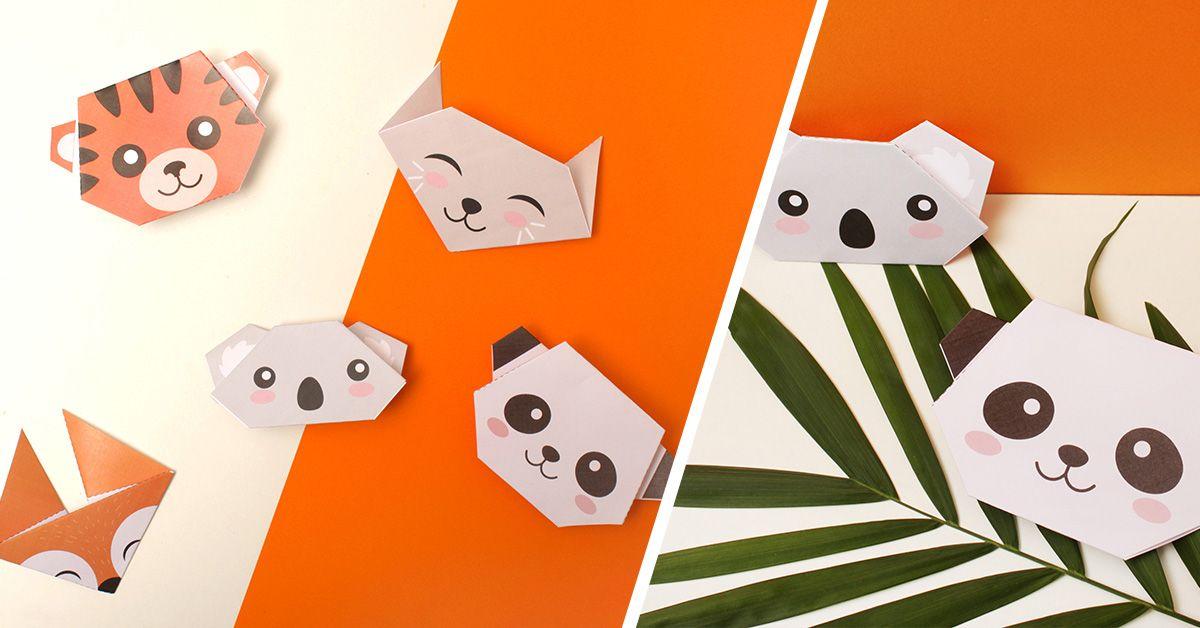 origami en t te animal pour enfants diy enfant panda et renard. Black Bedroom Furniture Sets. Home Design Ideas