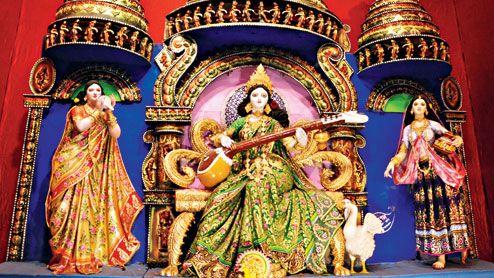 Saraswati Puja Pandal Decoration Ideas Google Search Saraswati