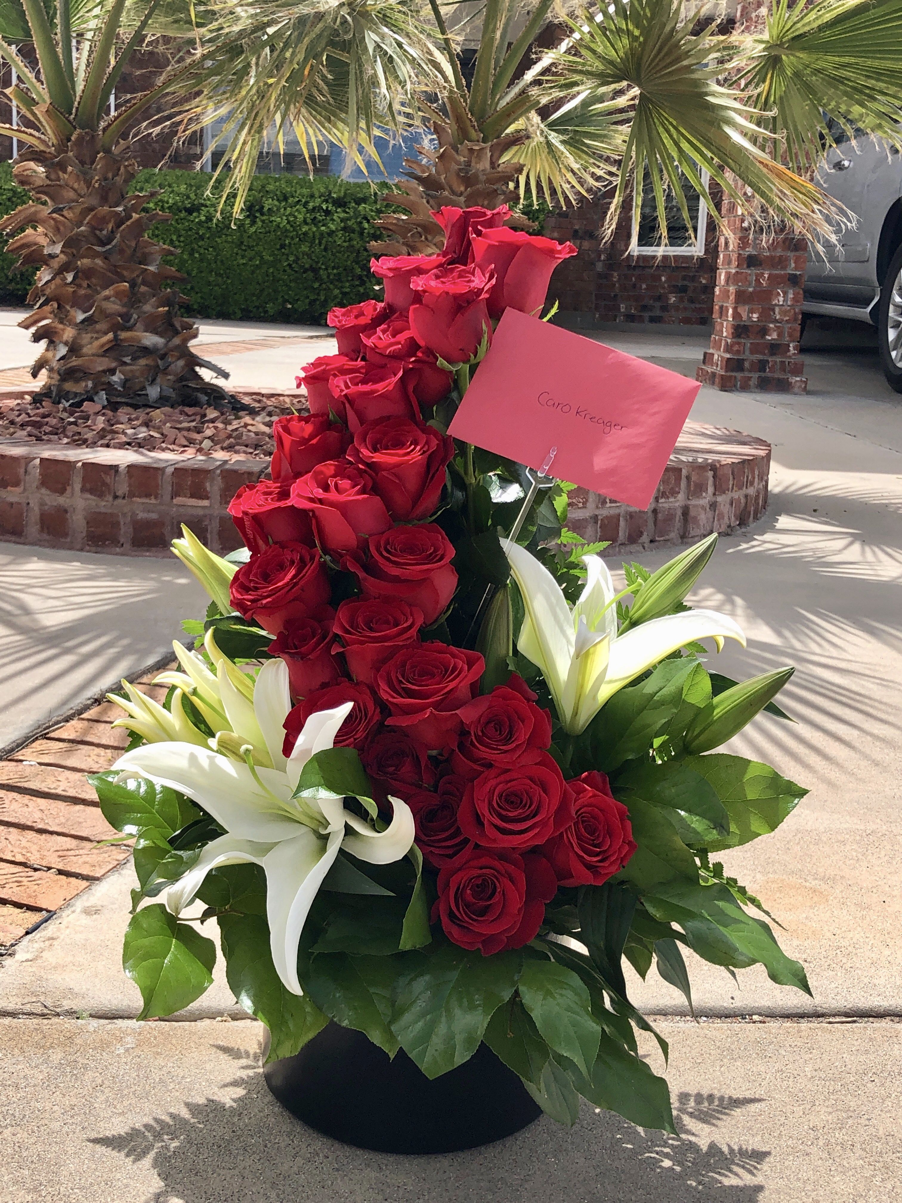 Angies red rose ladder by el paso florist beautiful