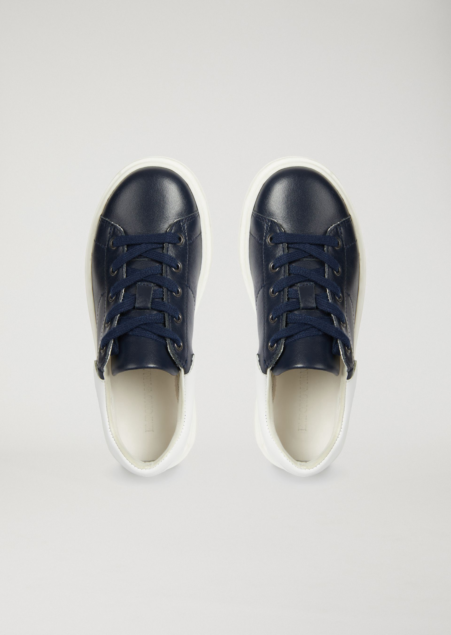 ef165ff32 Emporio Armani Nappa Sneakers With Logo - Navy Blue 32 | Products ...
