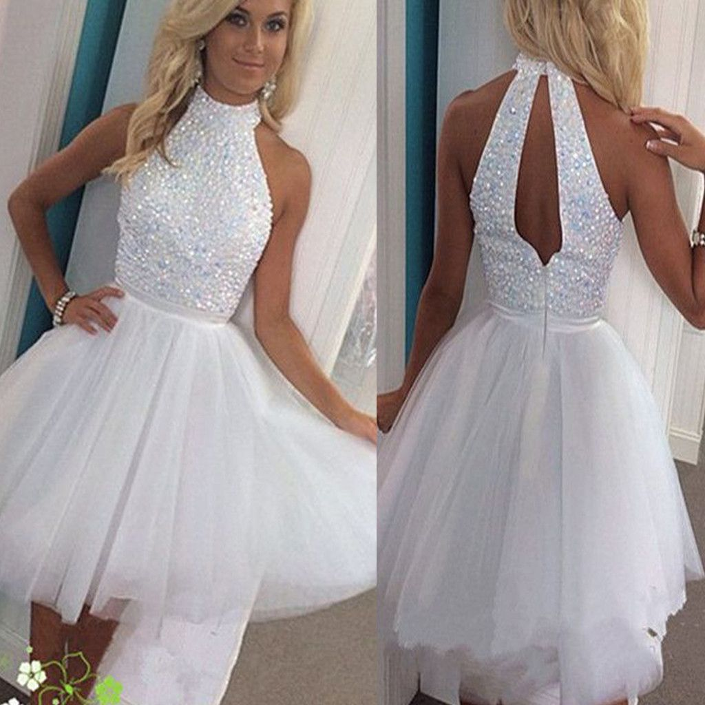 Short white beads sparkly open back off shoulder homecoming prom ...