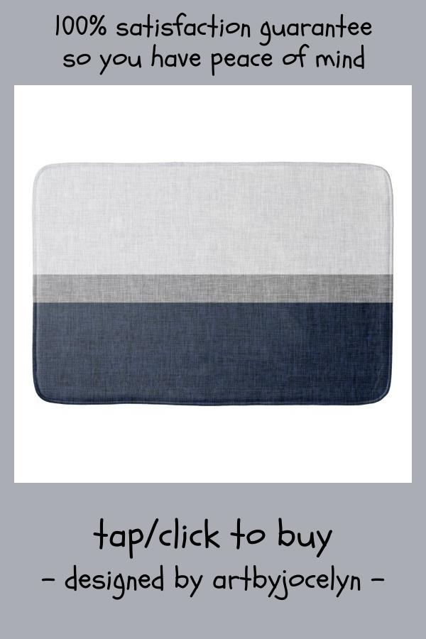 Dark Blue Grey White Simple Stripe Crosshatch Bath Mat #simple #stripe #dark #blue #grey #BathMat