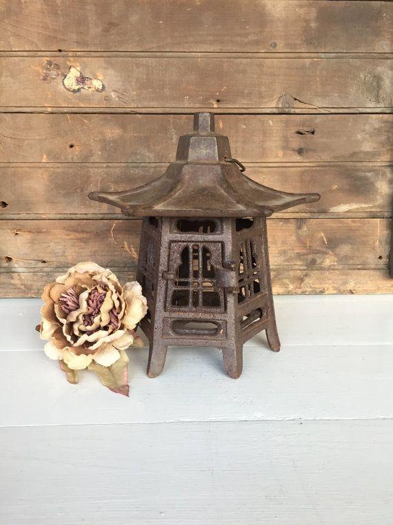 Vintage Lantern, Cast Iron Lantern, Rusty, Pagoda Style Lantern, Lantern, Cottage Chic, Rustic Decor, Primitive Decor, Garden Decor