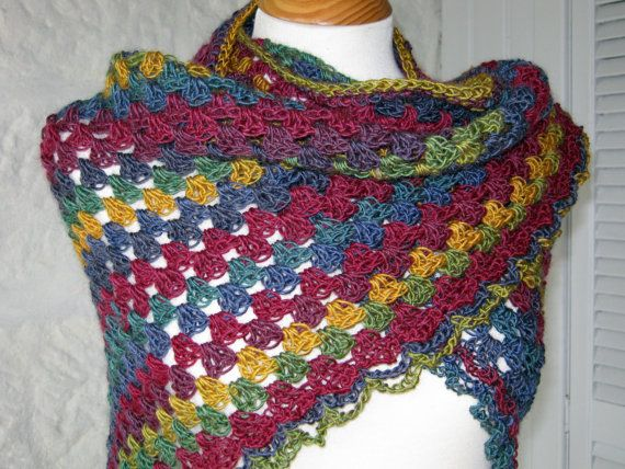 Crochet Shawl Granny Stripes Traditional Wool Wrap In Stock | My ...