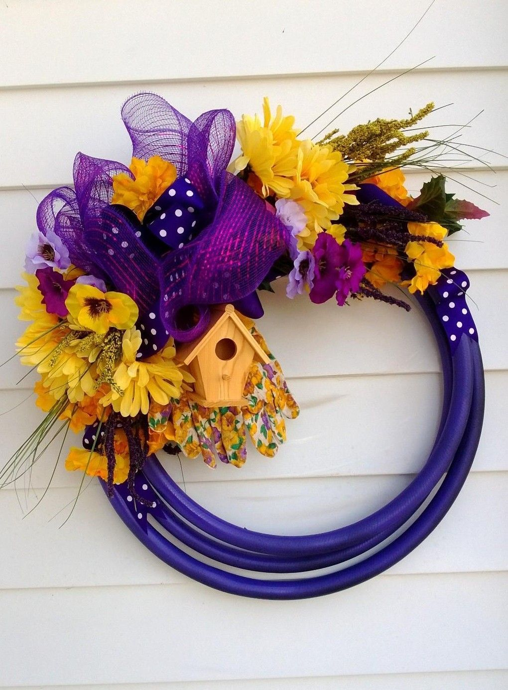 A Purple Garden Hose Wreath. Donated For A Garden Club Fundraiser.