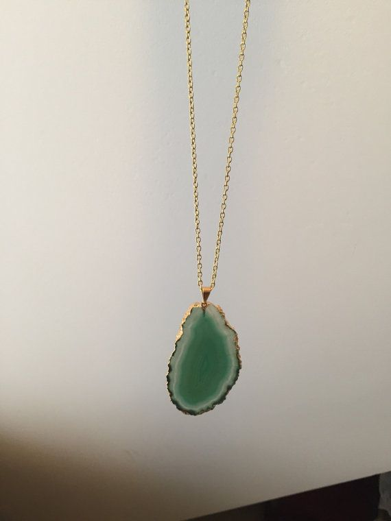 Green Agate Pendant Necklace by CherryRockDesign on Etsy