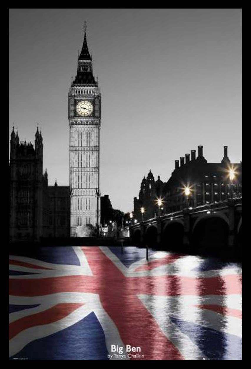 Quadro Poster Com Moldura Big Ben E Bandeira Da Inglaterra 64x94cm
