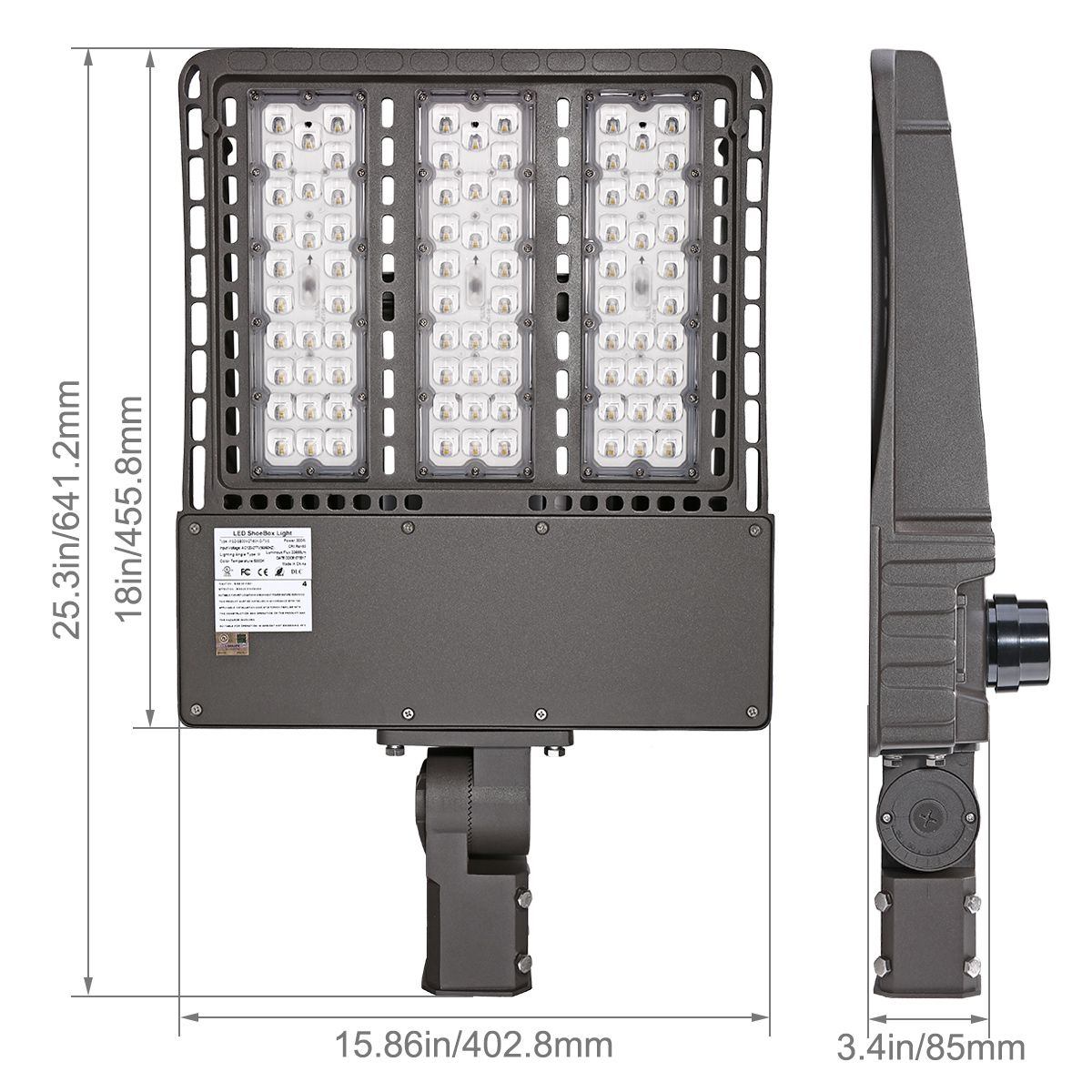 300w Led Shoebox Parking Lot Light With Slip Fitter Mounting Way 1000w Hps Equivalent 33600 Lumen Daylight White 5000k Waterproof Ip65 Dlc Ul Listed For S Led Parking Lot Lights Security Lights