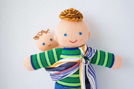 Babywearing Daddy Doll with a Baby Doll - knitted play dolls, eco-friendly, waldorf dolls, attachment parenting on Etsy, $42.00