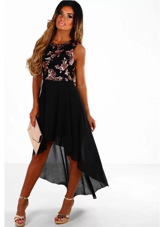 6cb703efd803 Wholesale Black and Rose Gold Sequin Chiffon Dip Hem Maxi Dress OSM-1091  for Women's - Dear-Fashion.com