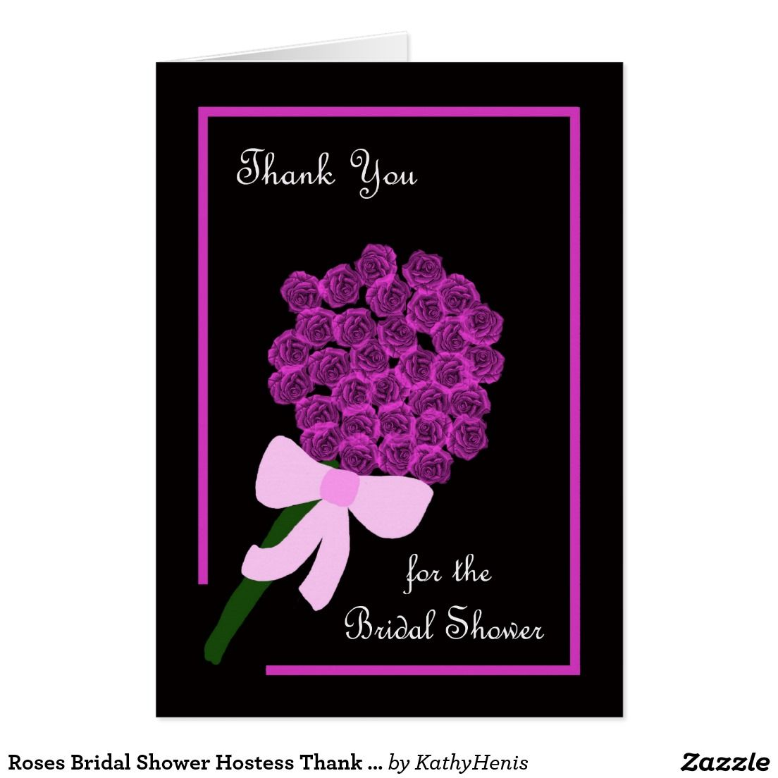 roses bridal shower hostess thank you card