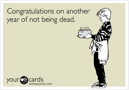 Funny Birthday Ecard Congratulations On Another Year Of Not Being Dead