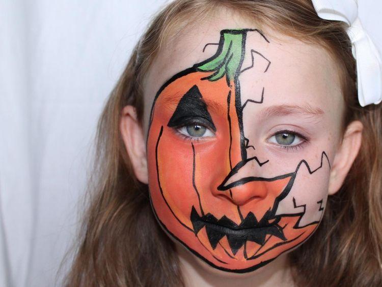 Halloween Gesichter Kinderschminken.Kinderschminken Fasching Ideen Maedchen Kuerbis Gesicht Orange Halloween Schminken Kurbis Halloween Schminken Kinder Kinderschminken