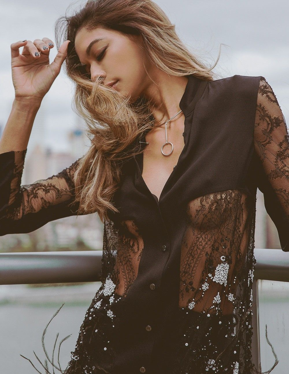 Heidy De la Rosa models street fashion for Grazia Slovenia