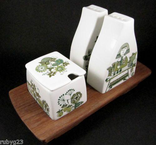 4PCE Vintage Figgjo Market Salt Pepper Shakers Mustard Teak Tray Norway | eBay