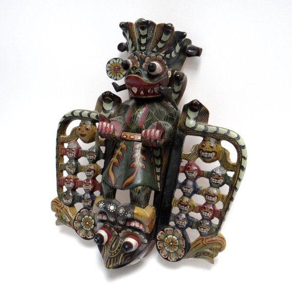 Tribal Totem Carved Balinese Wooden Mask - Garuda Mask - Vintage Polychrome Handpainted Carving, Indonesian Mythology Home Guard, Wall Decor at VintageArtAndCraft