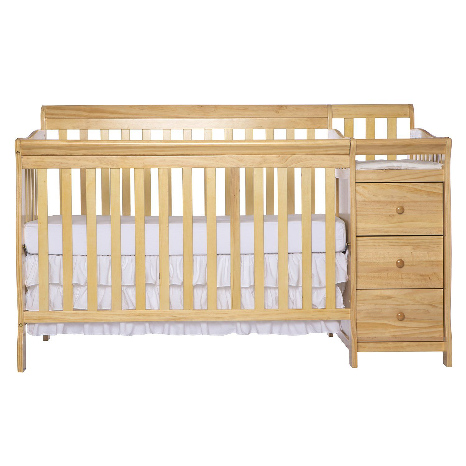 Dream On Me 5 In 1 Brody Convertible Crib With Changer Natural Cribs Convertible Crib Crib With Changing Table