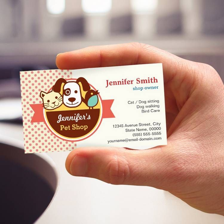Pet shop cute polka dots business cards custom for Pet store business cards