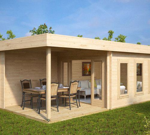modernes gartenhaus mit terrasse jacob e 12m 44mm 3x7 gartenh user aus holz gartenh user. Black Bedroom Furniture Sets. Home Design Ideas