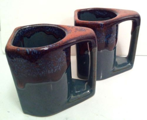 TWO-2-PADILLA-SIGNED-POTTERY-TWIN-MUGS-COFFEE-CUP-TEAL-BROWN-SUGAR-DRIP-MINT