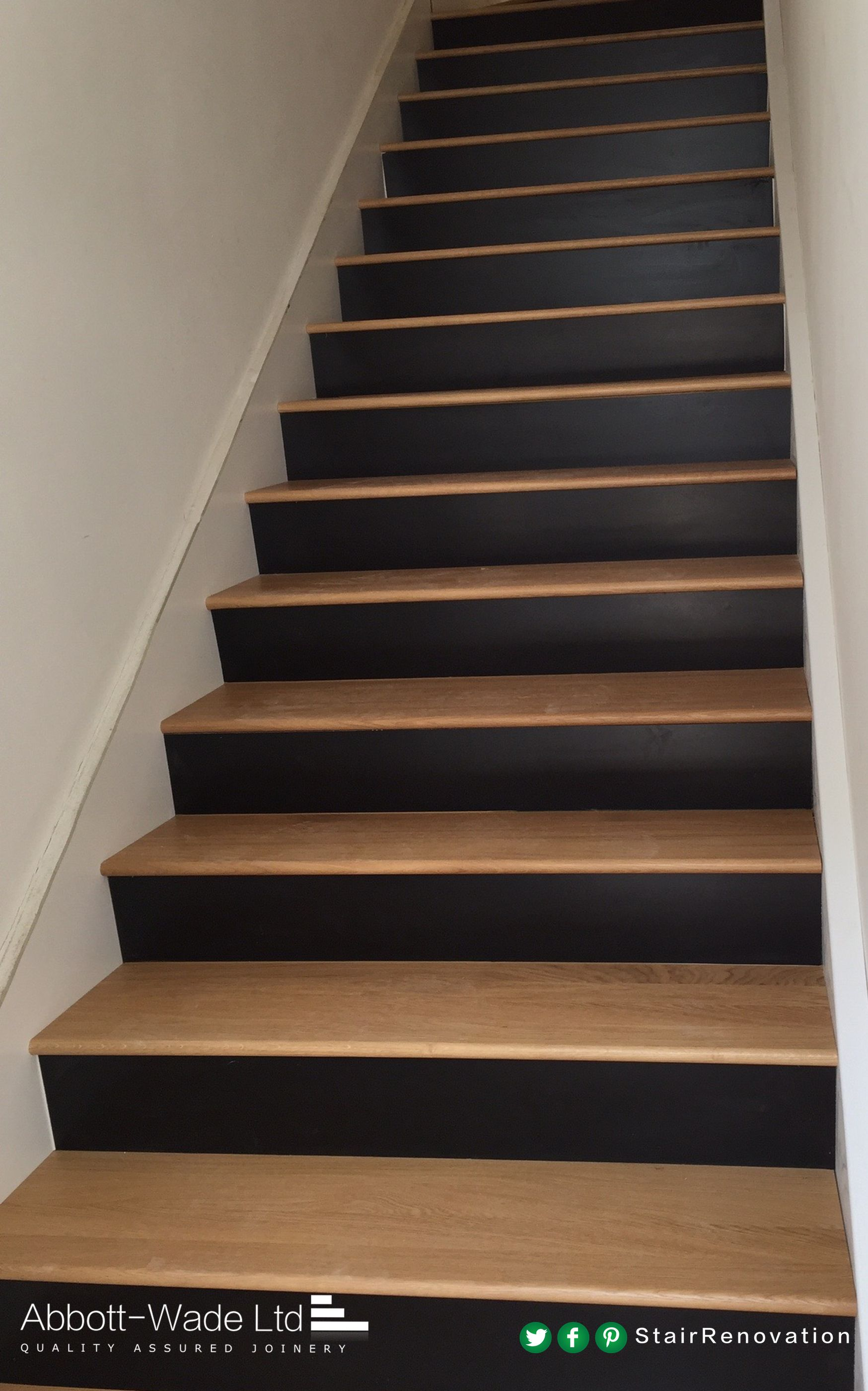 Oak treads with black risers are a uniquely stylish - Interior stair treads and risers ...