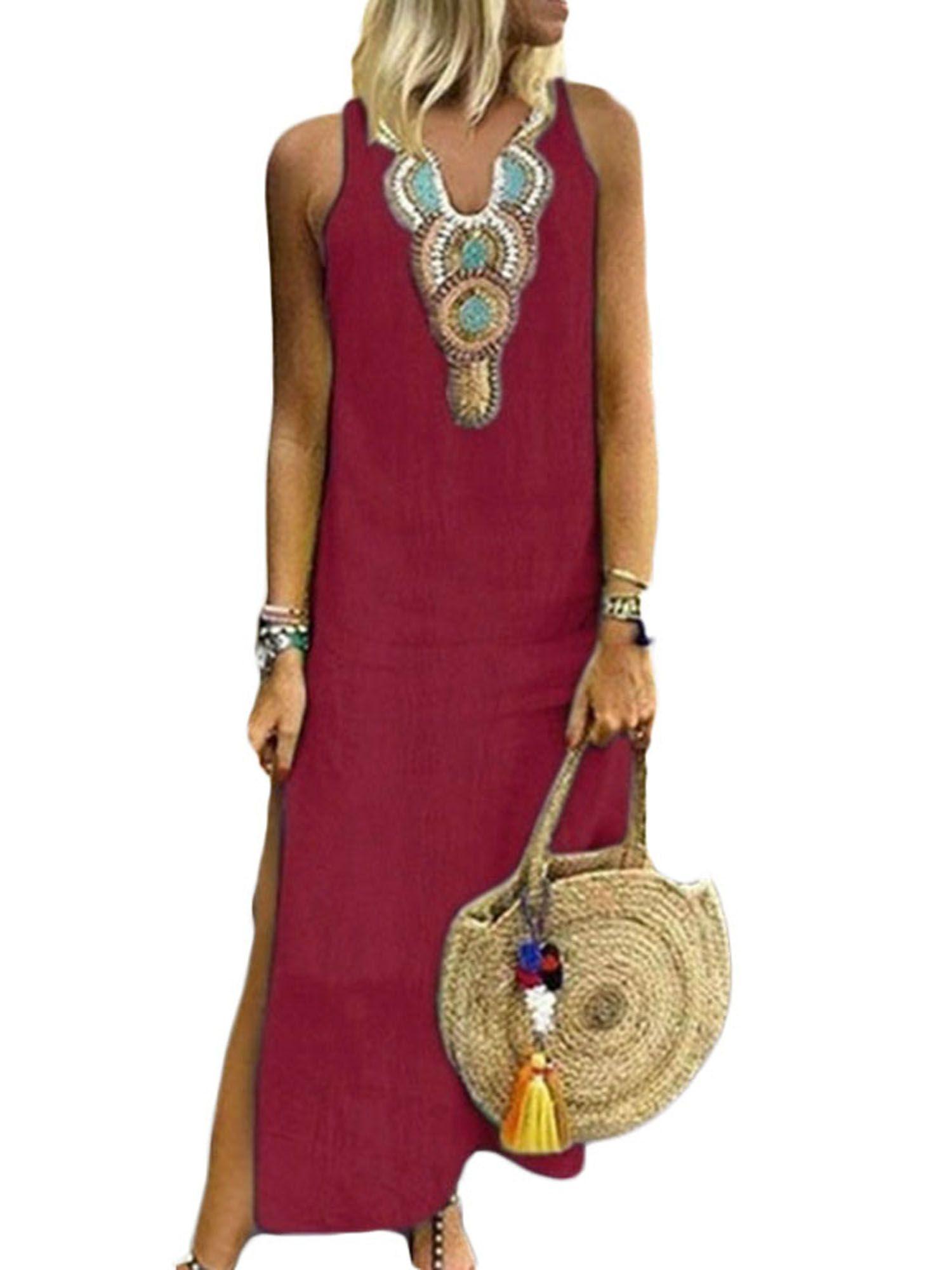 Wodstyle Women S Plus Size Sleeveless V Neck Boho Split Loose Long Maxi Dress Walmart Com Long Maxi Dress Plus Size Dresses Uk Long Sleeve Print Dress [ 2000 x 1500 Pixel ]