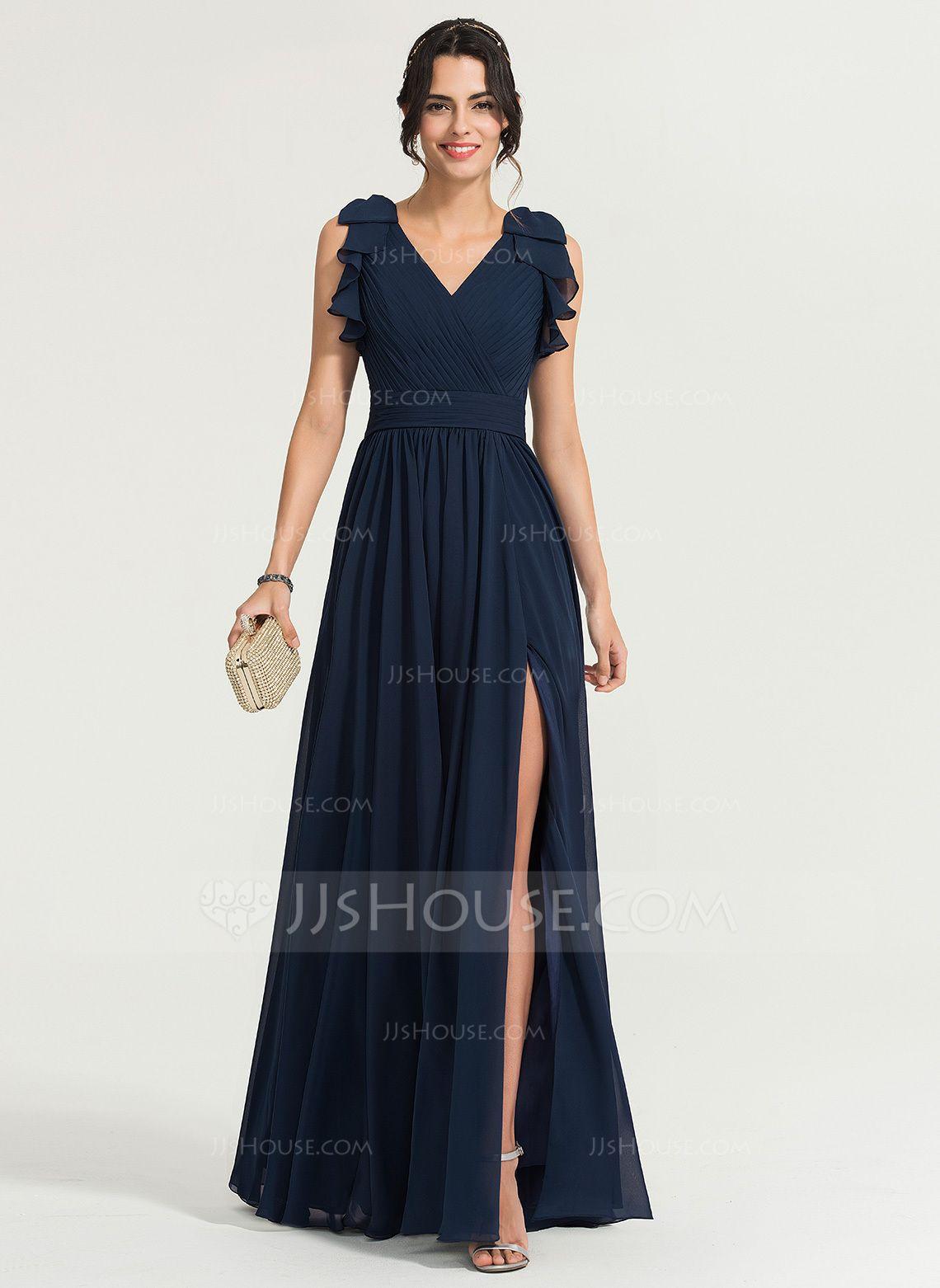 Photo of [€ 142.00] A-Line V-neck Floor-length Chiffon Wedding Dress