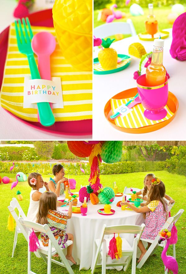 Colorful Fruity Flamingo End Of Summer Party Tutti