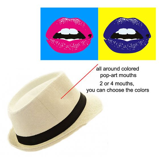 Custom Hand painted hat with Pop Art Mouths by FashionTaboo, $60.00