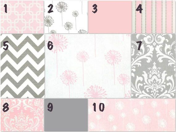 Custom Pink Gray And White Crib Bedding You By
