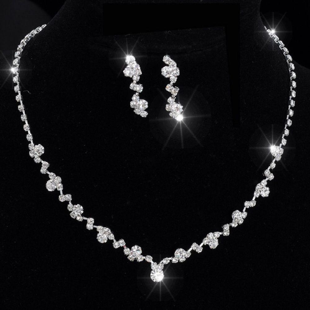 Brautschmuck set perlen  Set COLLIER Halskette Perlen Strass BRAUTSCHMUCK HOCHZEIT BRAUT ...