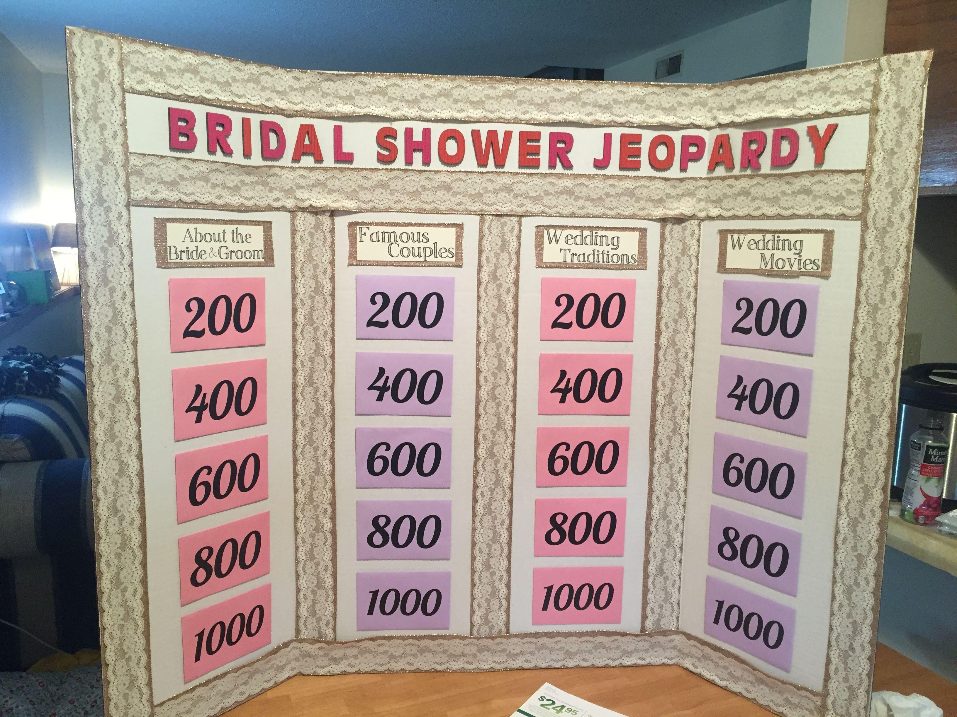 Bridal Shower Jeopardy! | Despedida, Juegos despedida de soltera y ...